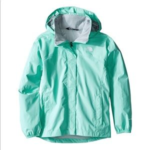 North Face Girls Raincoat Large 14/16 aqua/blue